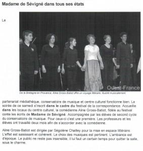 article de journal- Madame de Sévigné dans tous ses états